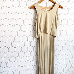 Charming Charlie tan layered maxi dress